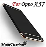 MOBITUSSION Oppo A57 Cover Rose with Gold [MobiTussion] Eventual Series New Luxury 3in1 Back Cover case for Oppo A57 Back Cover case (Black)