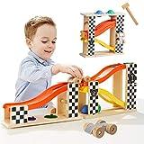 TOP Bright Pista Macchine per Bambini Piccoli,Pista Auto Giocattolo Macchine Corsa,Pista da Corsa in Legno Giochi con Martello e 2 Palline