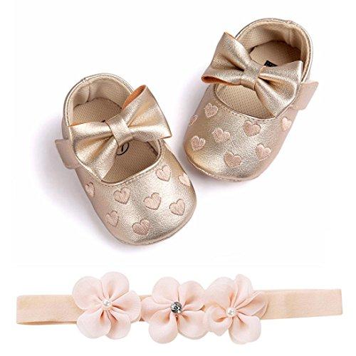 Huhu833 Babyschuhe, 2 Pcs Baby Mädchen Schuh Anti-Rutsch-Weiche Sohle Kleinkind Schuhe+ Stirnband (6~12 Month, Gold 4)