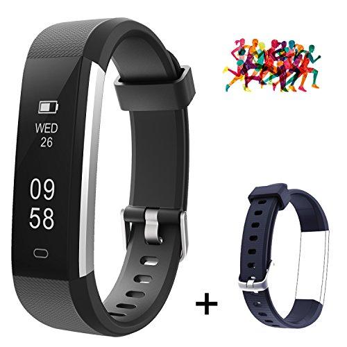 Mpow Fitness Tracker, ID115U Fitness Armbänder mit Einem Extra Blue Wristband für den Ersatz, Schrittzähler, Verfolgung der Schritte, Schlaf-Monitor, SNS/SMS Alarm, Steuerung der Kamera des Telefons.