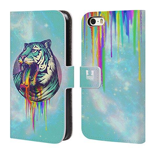 Head Case Designs Licorne Arc-En-Ciel Dégueulis Étui Coque De Livre En Cuir Pour Apple iPhone 5c Tigre