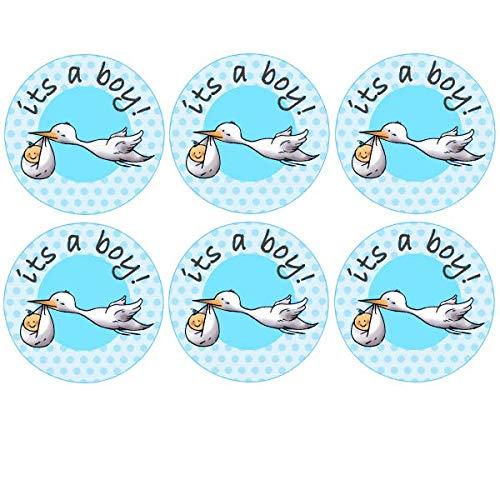 Boy Storch Baby Dusche Tasse Kuchen, Fairy Kuchen Topper/Dekoration Essbar Wafer Papier ()