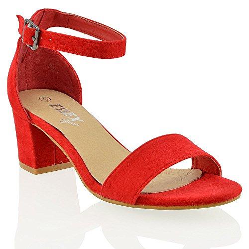 ESSEX GLAM Sandalo Donna Luce Rosso Ecopelle Scamosciata Tacco Medio-Basso con Cinturino alla Caviglia EU 40