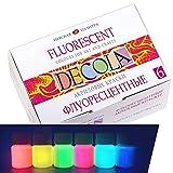 Nevskaya Palitra Fluoreszierende Farbe | 6 x 20 ml Näpfchen | Acryl Neon-Farben Set mit Glow-Effekt unter Schwarzlicht (UV-Licht)