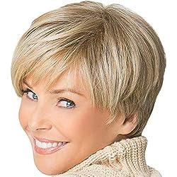 Pelucas,LUNULE peluca llena de pelo sintético recto corto Pelucas resistentes a la temperatura
