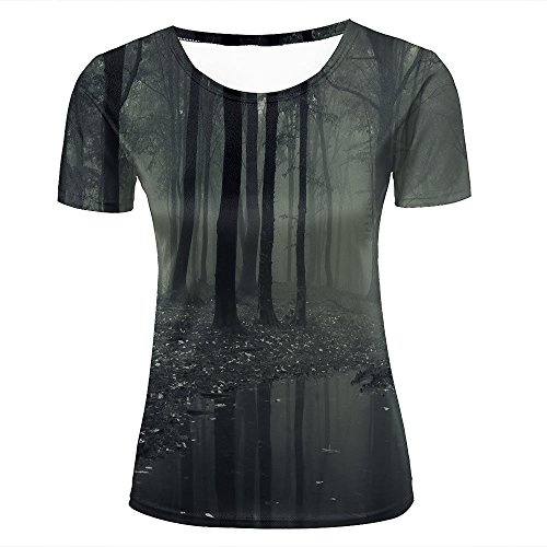 Womens Novelty 3D Print Misty Forest/Small Lake Pattern Casual Short Sleeve T-Shirts Fashion Couple Tees XS
