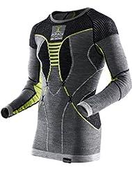 X-Bionic Apani Merino By X Uw Shirt Lg_Sl. Sottomaglia a girocollo, da uomo, Uomo, APANI MERINO BY X-BIONIC MAN UW SHIRT LG_SL. ROUNDNECK, Black/Grey/Yellow, L/XL