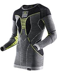 X Bionic Apani Merino By UW LG-SL Roundneck, Maglia Intima Termica Uomo, Nero/Grigio/Giallo, S/M