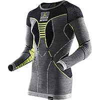X Bionic Apani Merino By Uw Lg-Sl Roundneck Maglia Intima Termica, Uomo, Nero/Grigio/Giallo, L/XL