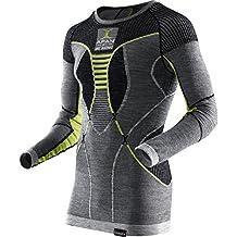 X-Bionic Hombre apani Merino by X UW Camiseta Lg _ SL. roundn esquina Ropa Interior, otoño/invierno, hombre, color Black/Grey/Yellow, tamaño L/XL