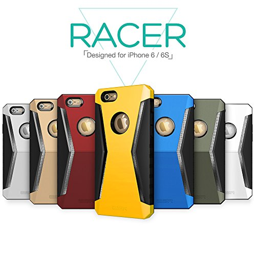Custodia per iPhone 6s,Cover per iPhone 6 in Silicone [with Screen Protector],ESR® Protective Tough Armor Bumper Case Apple 4.7 inch iPhone 6 / iPhone 6S Racer_Weiß