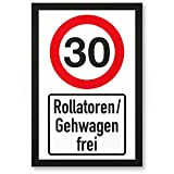 DankeDir! 30 Jahre Rollatoren/Gehwagen Frei, Kunststoff Schild - Geschenk 30. Geburtstag, Geschenkidee Geburtstagsgeschenk Dreißigsten, Geburtstagsdeko/Partydeko / Party Zubehör/Geburtstagskarte