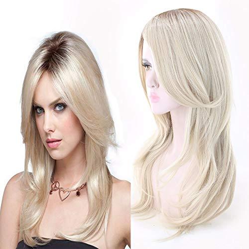 NXJF Echthaar Perücke Blond Ombre Highlight Glueless Human Hair Lace Front Wig Glatt 130% Dichte met Baby Hair