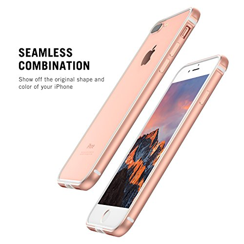 iPhone 7 Plus Hülle, iPhone 8 Plus Hülle, RANVOO Bumper Hülle Aluminium Rahmen + Innen Gepolstert TPU Metall Bumper case for iPhone 7 Plus/8 Plus 5,5 Zoll, Rot Roségold