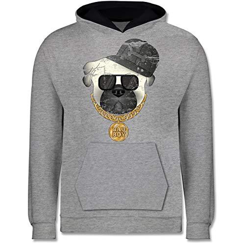 Shirtracer Tiermotive Kind - Bad Boy Mops Vintage - 9-11 Jahre (140) - Grau meliert/Navy Blau - JH003K - Kinder Kontrast Hoodie