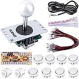 Quimat Arcade Joystick USB Codificador Kit de Bricolaje PC para Mame Jamma Raspberry Pi y Juego de Lucha Blanco QR02
