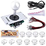 Quimat Arcade Game DIY Parts kit for PC and Raspberry Pi 1/2/3 with RetroPie, 5Pin Joystick, 8x 30MM and 2x 24MM Buttons (white)