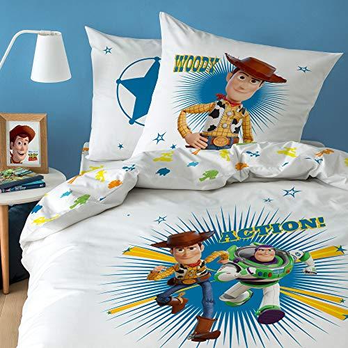 Disney Toy Story Bettwäsche für Kinder, Bettbezug und Kissenbezug, 100% Baumwolle, weiß, 140 x 200 cm (Story Toy Kissenbezug)