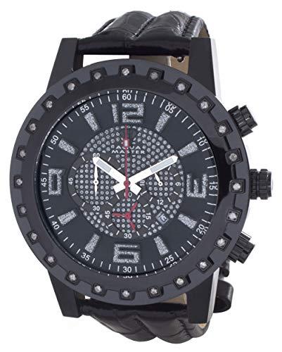 Aqua Master W138 - Reloj de Pulsera para Hombre (Mecanismo de Cuarzo, Esfera de cronómetro, Esfera Negra), Color Negro