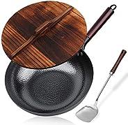 مقلاة فولاذية كربونية، مقلاة غير مسطحة، طاسة قلي مع غطاء، للموقد الكهربائي، وطباخ حثي وموقد غاز (32.5 سم)