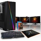 Fierce CHEETAH RGB Gaming PC Bundeln - Schnell 6 x 4.7GHz Hex-Core Intel Core i7 8700K, All-In-One Flüssigkühler, 240GB Solid State Drive, 1TB Festplatte, 16GB von 2666MHz DDR4 RAM / Speicher, NVIDIA GeForce GTX 1080 8GB, Gigabyte Z370 HD3 Hauptplatine, Aerocool Cylon RGB Computergehäuse, HDMI, USB3, Wi - Fi, VR Bereit, 4K Bereit, Perfekt für High-End-Spiele, Windows 10 installiert, Tastatur (VK/QWERTY), Maus, 3x 24-Zoll-Monitore, Headset, 3 Jahre Garantie 504925