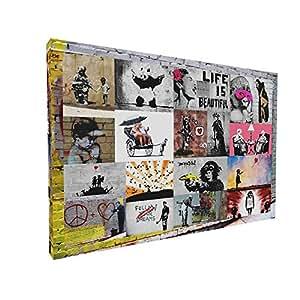 bild auf leinwand banksy graffiti art collage fotoleinwand24 aa0448 bunt 80x60 cm. Black Bedroom Furniture Sets. Home Design Ideas
