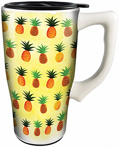 Spoontiques 12803 Pineapples Ceramic Travel Mug, Yellow/White