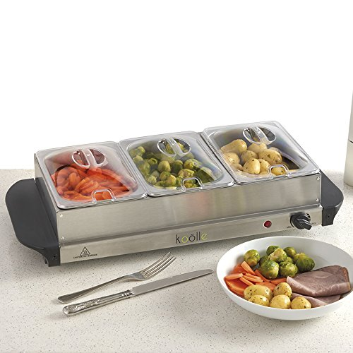 Koölle Electric 3 Section Buffet Warmer Hotplate Warming Tray - 3 Sections each with a 1 Litre Capacity 200 Watts - 2 Year Warranty