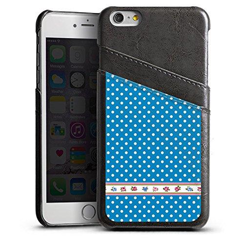 Apple iPhone 5 Housse étui coque protection Points Petite fleur Fleurs Étui en cuir gris