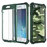 Garegce Coque iPhone 6, Coque iPhone 6s avec [2 x Protecteur d'écran en Verre Trempé], Housse TPU+PC [Antichoc] Camouflage 360° Anti-Chute Armure Double Protection for iPhone 6 / 6s-4.7'- Vert Camo