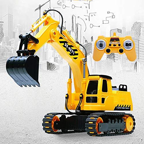 RC Auto kaufen Baufahrzeug Bild 2: HKFV RC Bulldozer, Model Free Wheeler Die Cast BAU Spielzeug RC Car 1:24 Scale Fernbagger-BAU-LKW-Spielzeug*