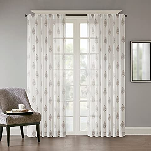 URBAN HABITAT Aria Dekoschal Voile Gardine Schal Vorhänge mit verdeckten Schlaufen Wohnzimmer Edel Elegant weiß, graue Stickerei (2er-Set, je