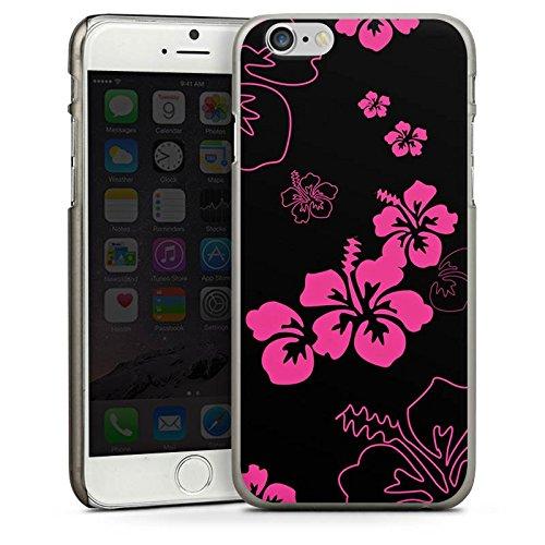 Apple iPhone 5 Housse Étui Silicone Coque Protection Fleurs Fleurs Noir rose CasDur anthracite clair