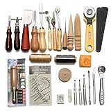 ECOSWAY Leder-Werkzeug-Set 37-teilig aus Leder mit Perforation, Handarbeit, Carving Kit Werkzeug mit Stickerei Carving-Gürtel Leder Sattel Groover Boxsack und Näh-Werkzeug