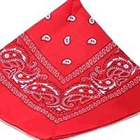 LARGE RED Bandana Black white square Paisley pattern