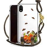 DeinDesign Apple iPhone Xr Carry Case Hülle zum Umhängen Handyhülle mit Kette Schmetterlinge Blume Flower