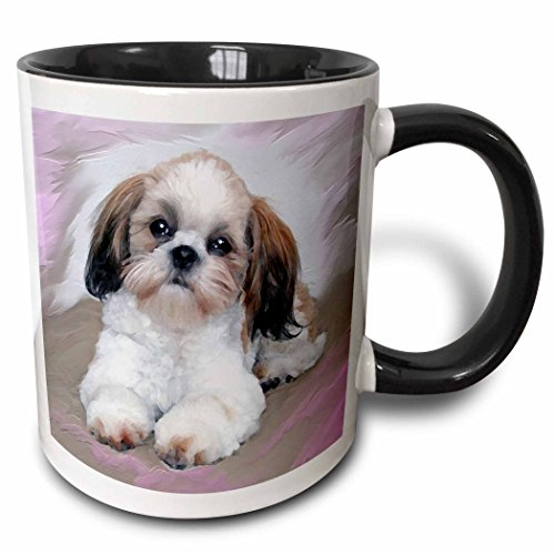 3dRose Shih TZU Puppy-Two Ton Schwarz Tasse, Keramik, Mehrfarbig, 10,2x 7,62x 9,52cm -