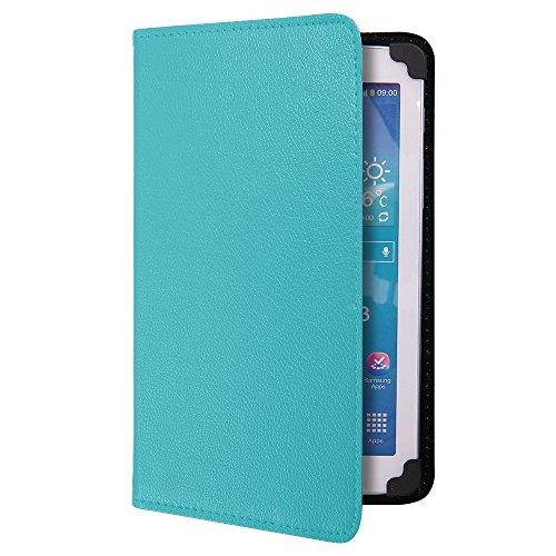 EGO® Universal Kunstledertasche Flip Case Schutz Hülle mit praktischer Ständerfunktion für 7 Zoll Tablets PU Leder Smart Cover Etui in hellblau