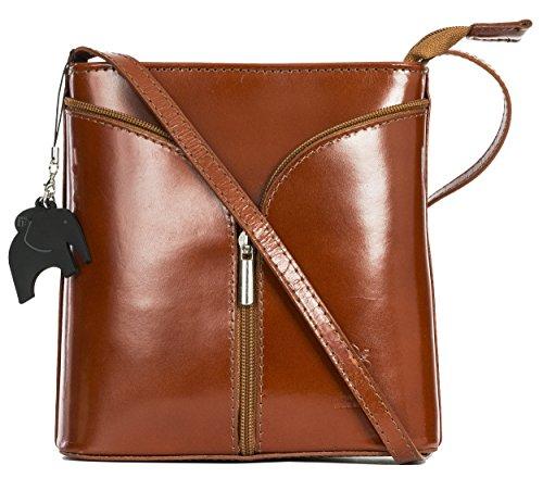 Big Handbag Shop Borsetta piccola a tracolla, vera pelle italiana Medium Tan - Plain