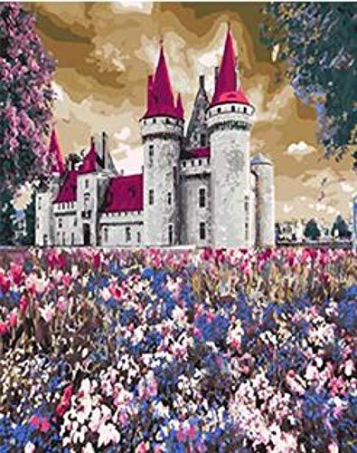 tal Leinwand Ölgemälde Geschenk für Erwachsene Kinder Malen nach Zahlen Kits Home Decor-Fairy Palace Garden-16 * 20 Zoll (kein Rahmen) ()