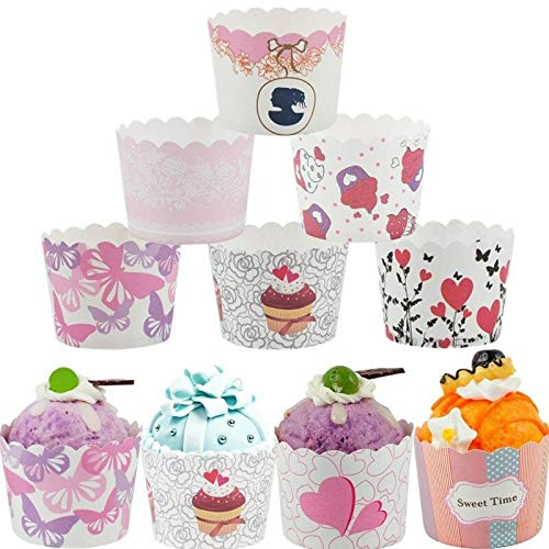 BIG BOX Small Paper Cup 50 Piece Large Paper Cake Baking Cup Cupcake Muffin Cases, Set of 50 (Colorful