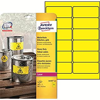 Avery Zweckform Heavy Duty Yellow Labels for Laser Printers 63.5 x 29.6 mm yellow