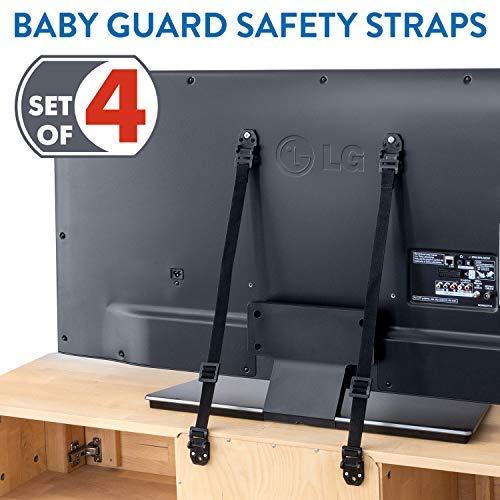 niversal Sicherheitsgurt, TV Kippsicherung Für Kinder |2 Schwarze 2 Weiße Gurte| Länge Bis 70.4 cm | Für Sicherheit Im Haushalt ()
