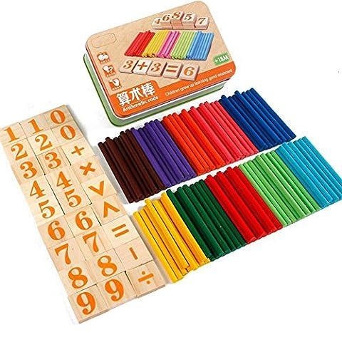 Les enfants apprennent le nombre de bâtons d'arithmétique Figure Les calculs de mathématiques arithmétiques Jouets en bois d'apprentissage précoce pour le bébé de 3 ans