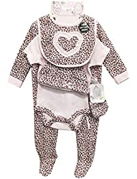 ce5388b1c Baby Girl Leopard Print Outfits & Sets Includes Sleepsuit, Hat, Bib,  Bodysuit & Mittens 5 PC…