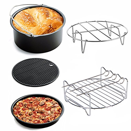 Godmorn accessori per friggitrici 5: secchiello per torta + vassoio per pizza + rack in metallo + spiedino arrostito + tappetino in silicone, set accessori per friggitrice per uso domestico 3.2qt -5.3