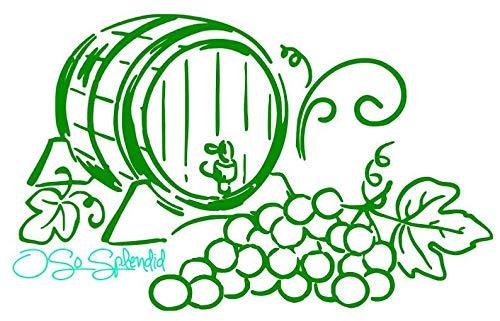CECILIAPATER Eichenfass, Trauben und Weinrebe, Dekoration - Küche Dekor - Kühlschrank Aufkleber - Wandaufkleber - Sie wählen Farbe! (Küche-dekor-trauben)