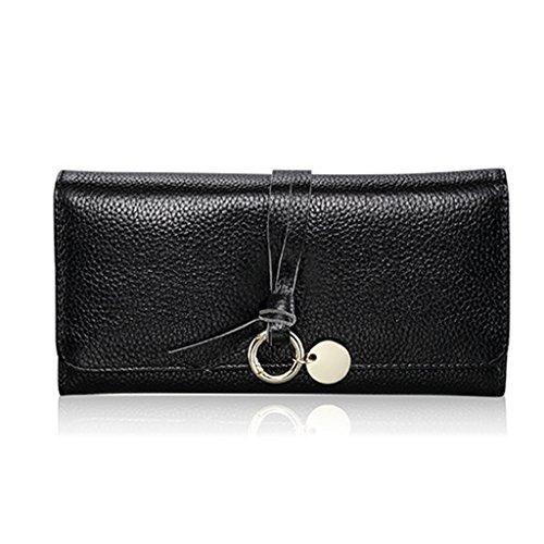 CLOTHES- Portafoglio lungo della borsa della signora Semplicità di svago Borsa multifunzionale femminile della borsa multifunzionale ad alta capacità di trasporto ( Colore : Rosso ) Nero