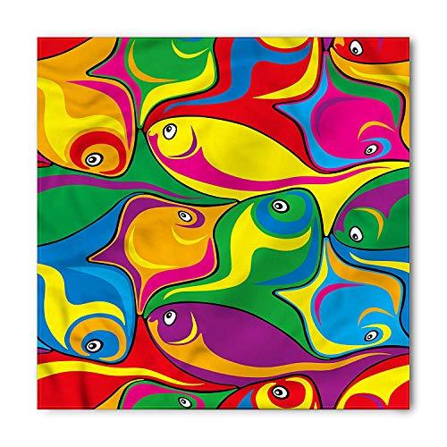 Cartoon Bandana, Funky Groovy Fish Abstract, Unisex Head and Neck Tie 60x60cm - Funky Bandana