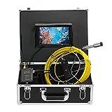 Lixada Caméra d'inspection d'égout de Tuyaux de Vidange de 20M IP68 Système d'inspection Endoscope imperméable Caméra Serpent Moniteur LCD 7